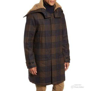 Men's Plaid Faux Shearling Trim Duffle Coat